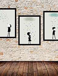 Colorfull Rain Cartoon Framed Canvas Print Set of 3