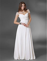 TS Couture® Prom / Military Ball / Formal Evening Dress - White Plus Sizes / Petite A-line / Princess V-neck / Off-the-shoulder Floor-length Chiffon