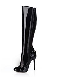 Elegant Patent Leather Stiletto Heel Knee-high Boots Party Shoes