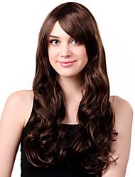 Capless long de charme synthétique perruque cheveux bruns bouclés Bang Side