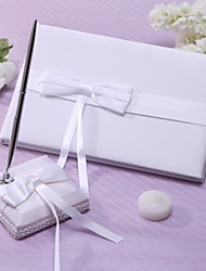 Ivory Wedding Guest Book and Pen Set With Bowknot Sign In Book