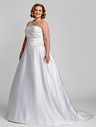 Lanting Bride® A-line Petite / Plus Sizes Wedding Dress - Classic & Timeless / Glamorous & Dramatic Court Train Strapless Satin with