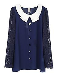 CBRL Damen Blue Cotton Blending School Style Lace Sleeve Chiffon Fit Shirt