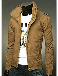 Langdeng Casual Fashion Stand Collar Jacket(Khaki)