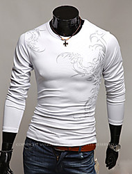 Chino Deporte Estilo de impresión de manga larga de la camiseta del cuello redondo vska Hombres