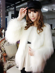 Women's Going out Vintage Fur Coat Round Neck Long Sleeve Winter Faux Fur Thick
