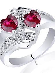 dame chic, 925 Terling anneau de ilver avec double coeur zircon 5mm