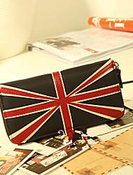 LULU Vintage England Style PU Leather Wallet(Black)