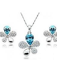 Flower Crystal Earrings & Necklace Jewelry Set