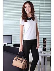 Cuello redondo manga corta Ocio Puro camisa blanca de algodón de unifo Mostrar Mujeres