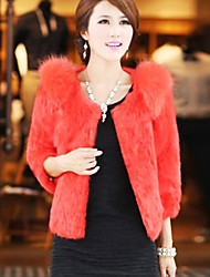 3/4 Sleeve Collarless Rabbit Fur Party/Casual Jacket(More Colors)