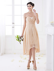 Asymmetrical Chiffon Bridesmaid Dress - Champagne Plus Sizes / Petite A-line Sweetheart