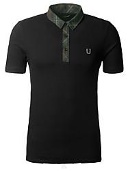 Männer Kontrast Kragen Polo Short Sleeve Shirt