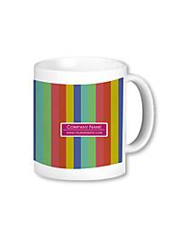 Personalized Rainbow Pattern White Mugs