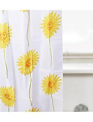 "Shower Curtain Polyester Sun Flower Print W78 x L69"""