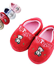 Modern Red Happy Bear Print Infant's Moccasin Slipper