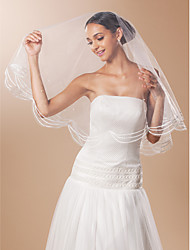 One-tier Fingertip Wedding Veil With Lace Pencil Edge And Bead