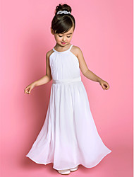 A-Line Floor Length Flower Girl Dress - Chiffon Stretch Satin Sleeveless Jewel Neck with Draping by LAN TING BRIDE®