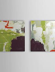 Handgemaltes Ölgemälde Abstrakt: Dreiecke mit gestrecktem Frame Set von 2 1311-AB1046