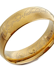 Gold Titanium Steel Band Ring with Lord of the Ring Design Laser Engraving Christmas Gifts
