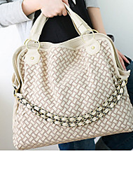 Lady Fashion Weave PU Leather Shoulder Bag/Crossbody Bag(Cream)