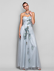Formal Evening / Prom / Military Ball Dress - Silver Plus Sizes / Petite A-line / Princess Strapless / Sweetheart Floor-length Tulle