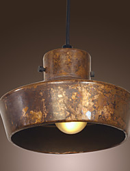 40W Retro Artistic Pendant Light with Rusty Metal Hat-shaped Shade
