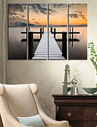 Stretched Canvas Print Art Landscape Step into Lake Set of 4