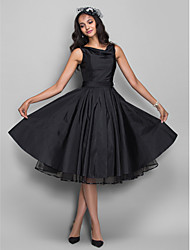 Homecoming Cocktail Party/Homecoming Dress - Black Plus Sizes A-line Cowl Knee-length Taffeta
