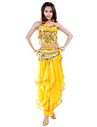 Belly Dance Outfits Women's Chiffon Beading / Coins / Sequins Sleeveless Natural