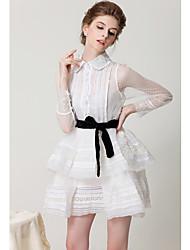 SIPAIYA Feminino Vestido de renda vintage com Belt (Branco)