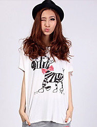 Women's T-Shirts , Cotton/Polyester Sexy/Casual/Cute Fashiongirl