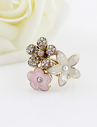 Flower Design-Legierung mit Strass-Perlen-Ring