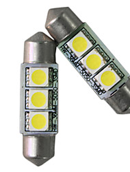 T10 White 5050SMD LED Light Bulbs Mirror Fuse Sun Visor 3-SMD 6641 (1 Pair)