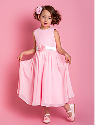 Sheath / Column Tea-length Flower Girl Dress - Chiffon Scoop with Flower(s) Sash / Ribbon