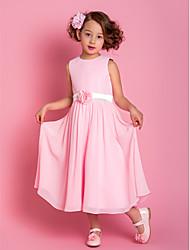Sheath / Column Tea Length Flower Girl Dress - Chiffon Sleeveless Scoop Neck with Flower