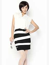 Unifo Show Women's Stand Collar Stripe Vest Dress