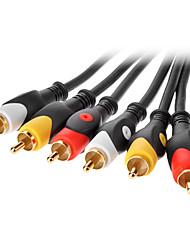 jsj® 3m 9.84ft 3 rca macho a macho cable av - negro