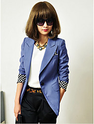 Frauen Polka Dots Roll Up Cuff Blazer