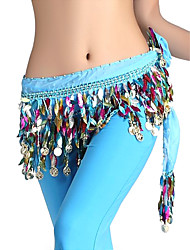 Belly Dance Belt Women's Training Chiffon Coins 1 Piece Black / Blue / Fuchsia / Pink / Purple / Red / Royal Blue / White / YellowBelly