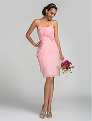 Knee-length Chiffon Bridesmaid Dress - Candy Pink Plus Sizes / Petite Sheath/Column Strapless