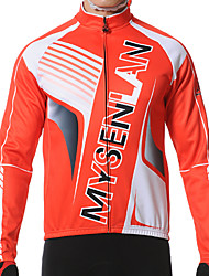 Mysenlan Cycling Jacket Men's Long Sleeve Bike Jersey Jacket Tops Thermal / Warm Windproof Fleece Lining Wearable Polyester Fleece Stripe