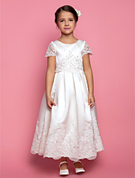 Lanting Bride A-line / Princess Ankle-length Flower Girl Dress - Satin Short Sleeve Jewel with Appliques / Beading / Draping