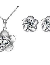 Flower Zircon Earrings & Necklace Jewelry Set