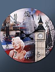 "23""H Metropolitan Style Real Painting Metal Wall Clock"
