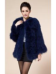larga manga de la chaqueta del partido / informal sin cuello de piel de avestruz (más colores)