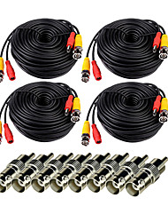 VideoSecu 4 Pack 150ft(50M) Video Power CCTV Security Camera Cable with BNC to RCA Adapter Connector