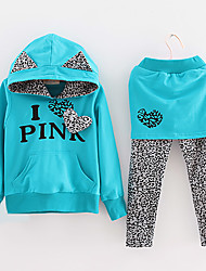 Girl's Letter Print Leopard Splicing Clothing Sets