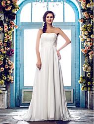 Lan Ting Sheath/Column Plus Sizes Wedding Dress - Ivory Sweep/Brush Train Strapless Chiffon