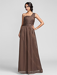 Lanting Bride® Floor-length Chiffon Bridesmaid Dress - Sheath / Column One Shoulder Plus Size / Petite with Ruching / Criss Cross